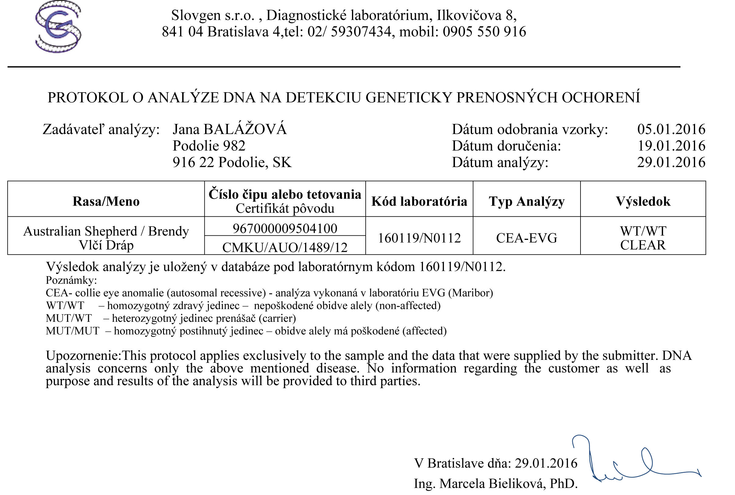 Results of DNA test for CEA
