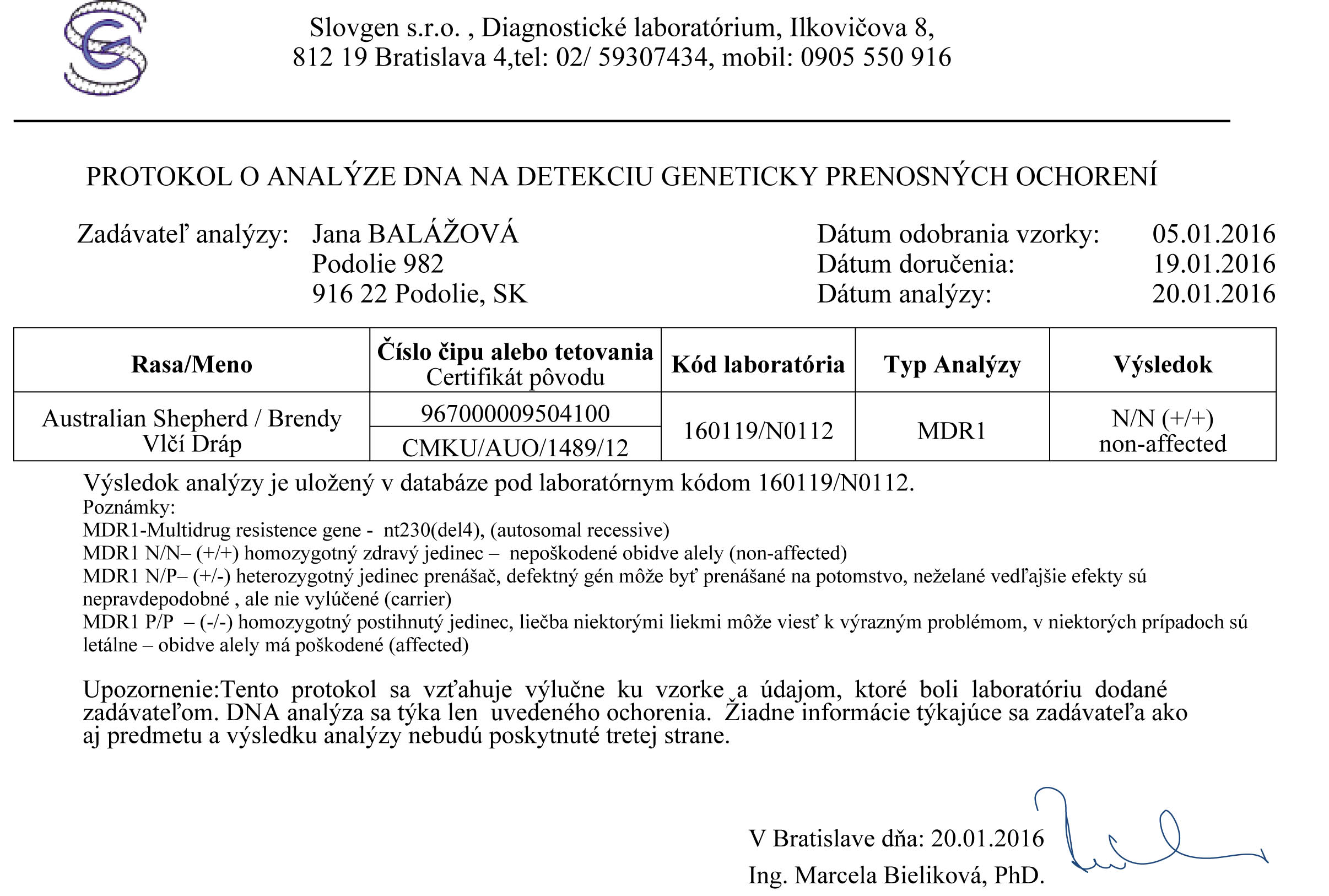 Results of DNA test for MDR1